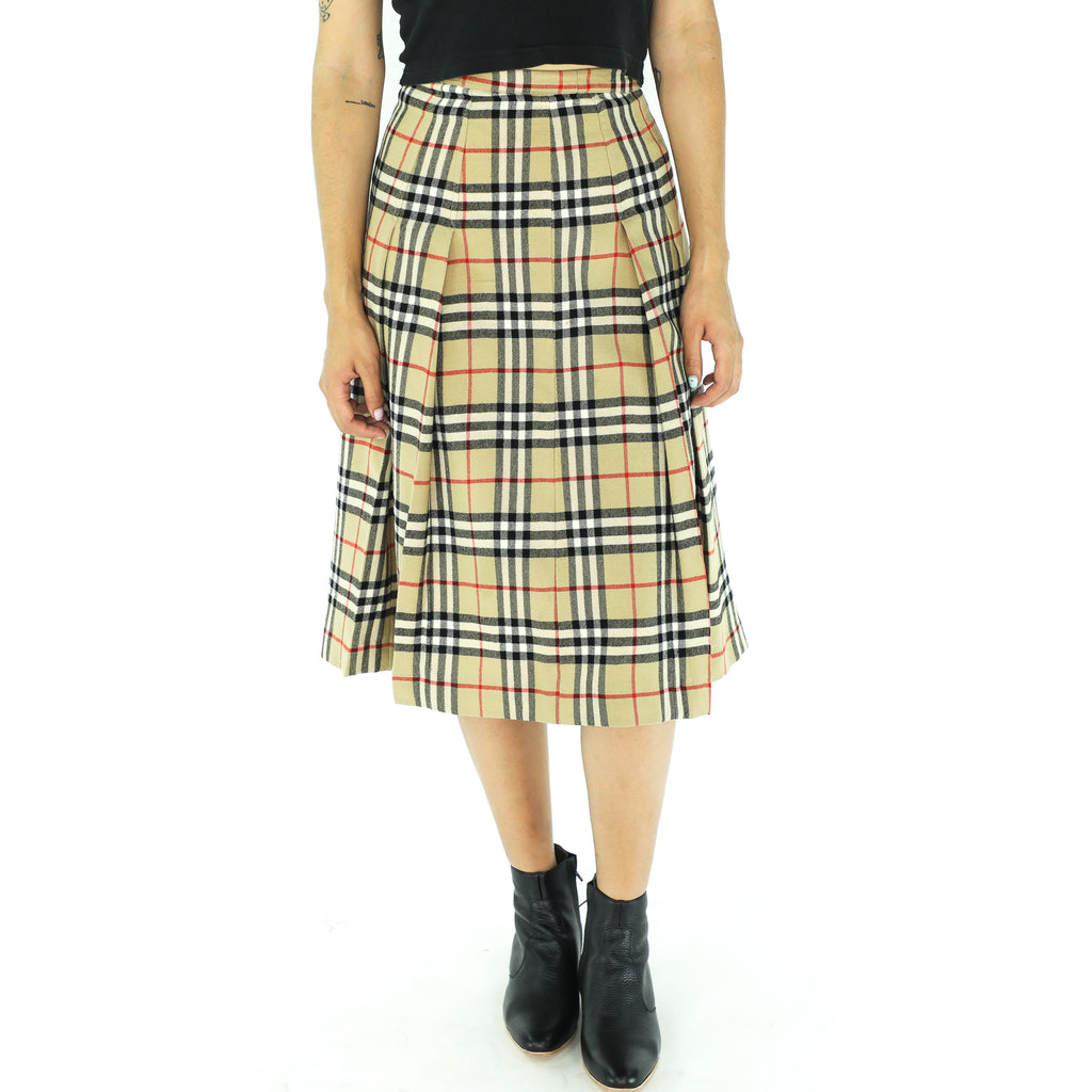 Vintage Wool Plaid Pattern Skirt
