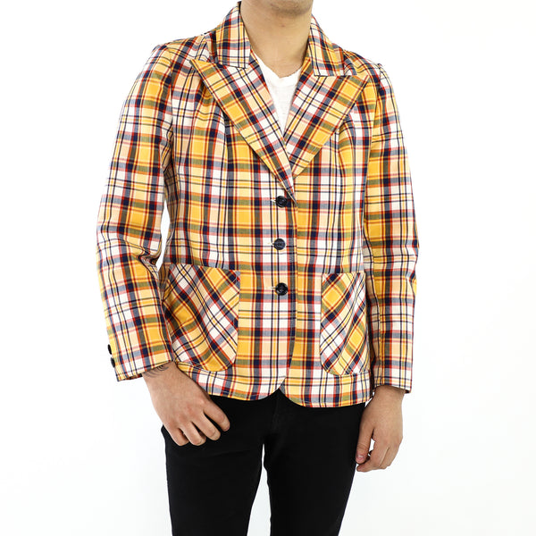 Amber & Orange-Red Plaid Pattern Blazer