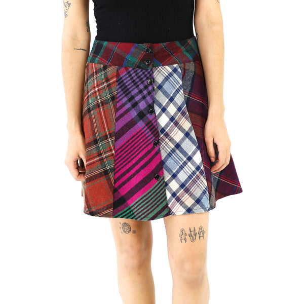 Tartan Patchwork Wool Mini Skirt
