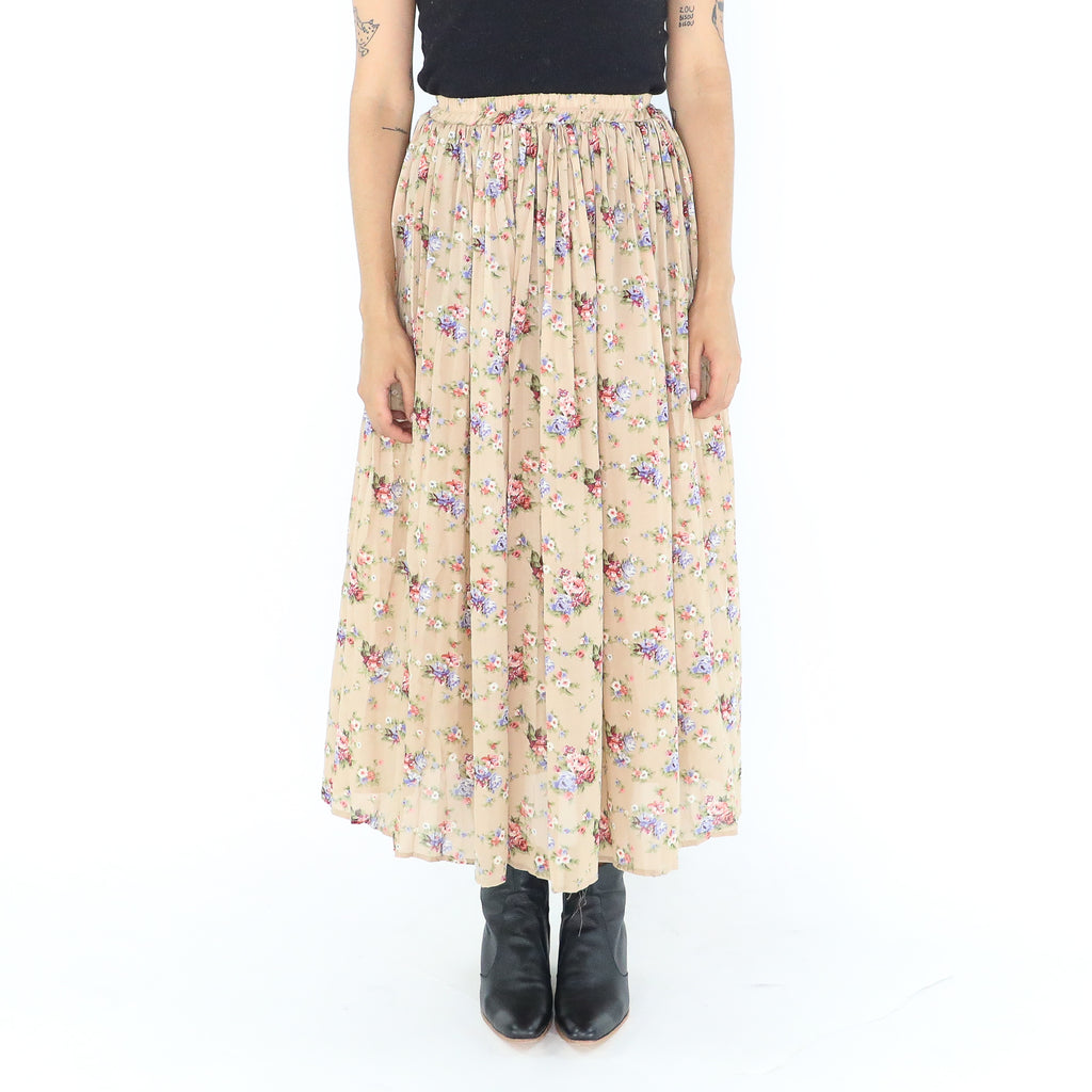 Vintage Floral 80's Pleated Midi Skirt