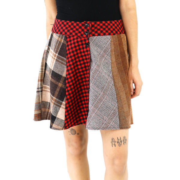 Plaid Patchwork Wool Mini Skirt