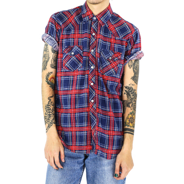 Egyptian Blue & Scarlet Tartan Cotton Flannel Shirt