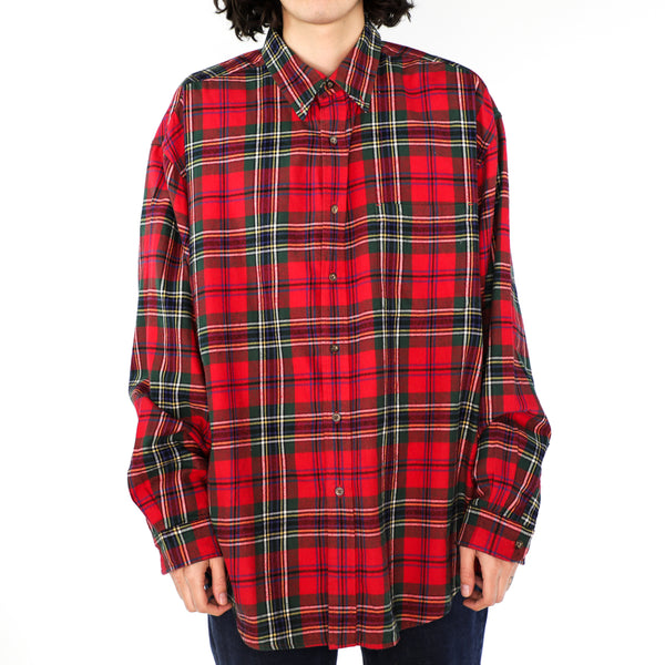 Red & Green Cotton Plaid Shirt