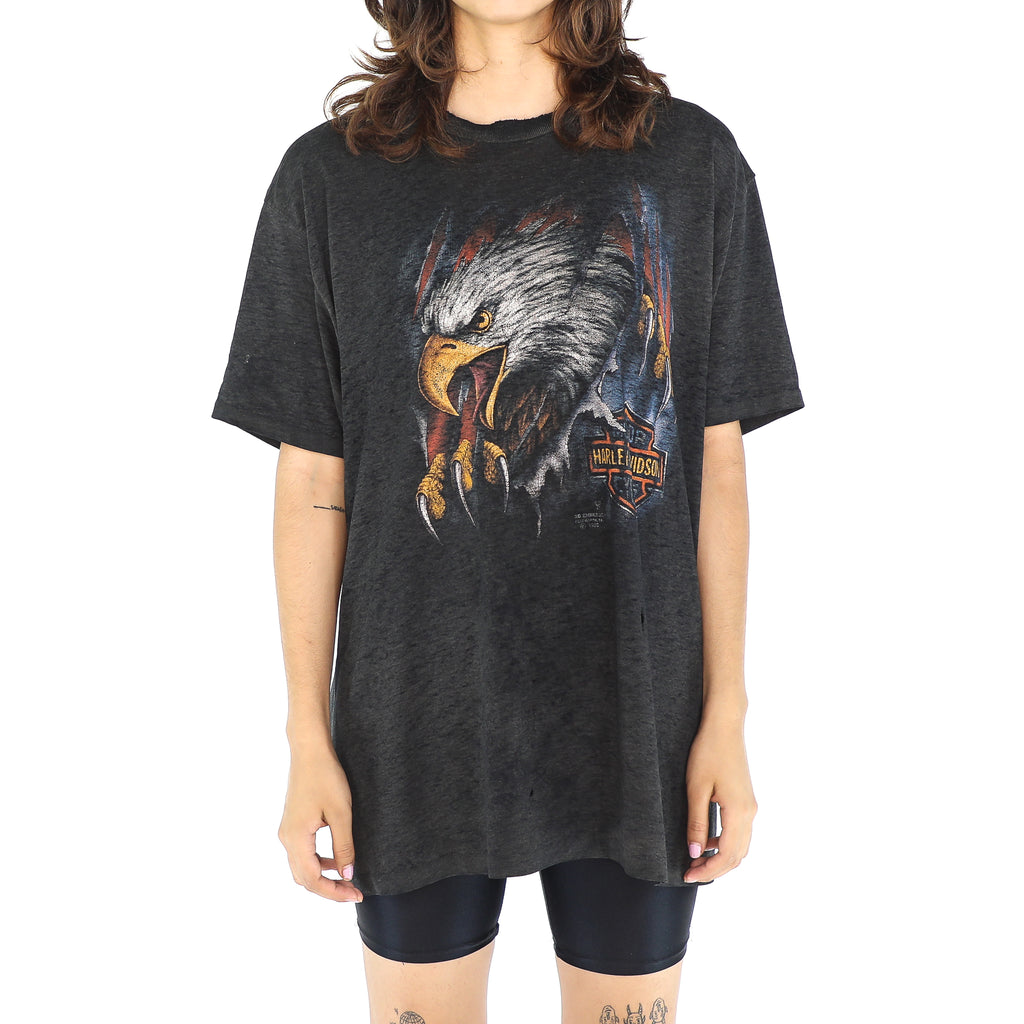 Black Cotton 90's Harley T-shirt