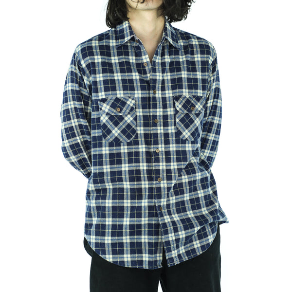 Space Blue Plaid Cotton Flannel
