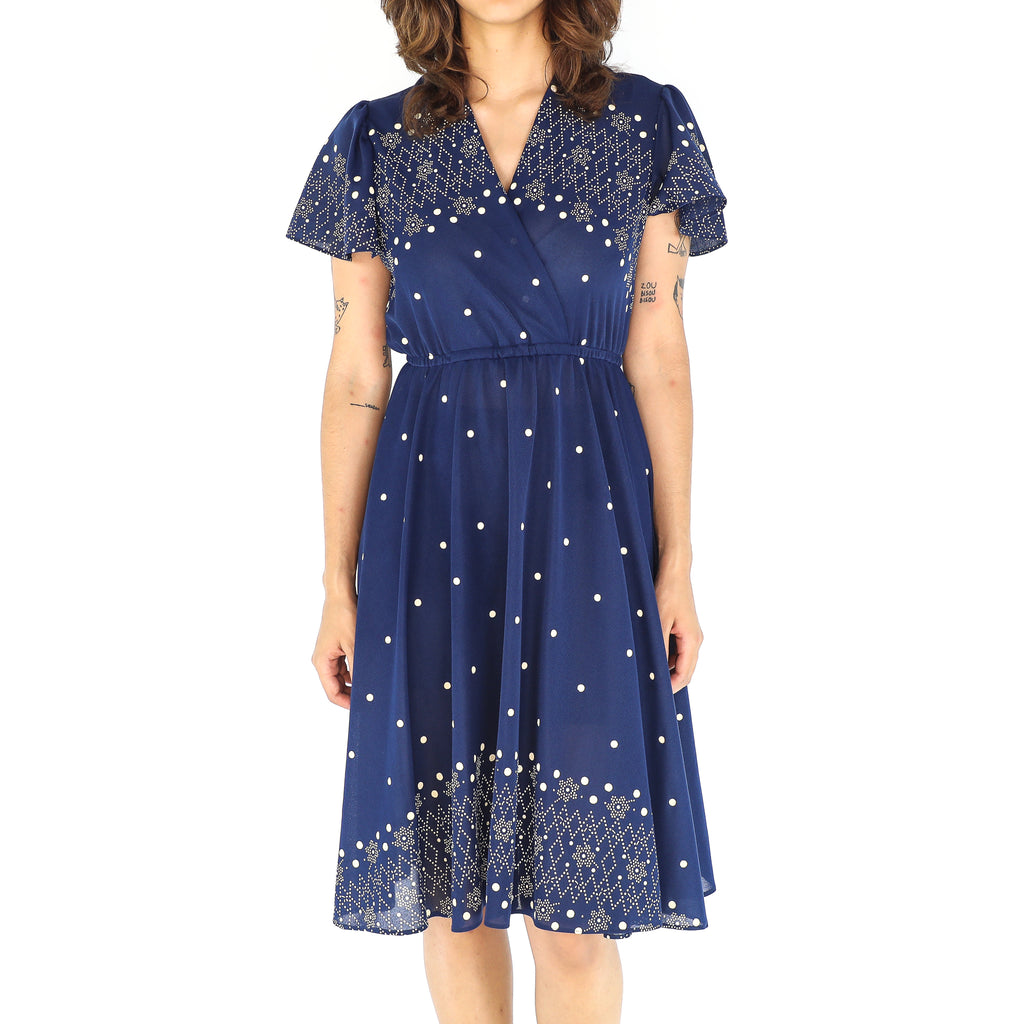 Navy Blue Snowfall 60's Dress