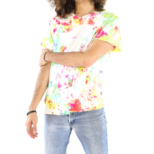 Neon Green, Rose, White Tie-dye T-shirt