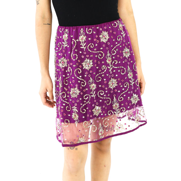 Golden Sequins Purple Indian Mini Skirt