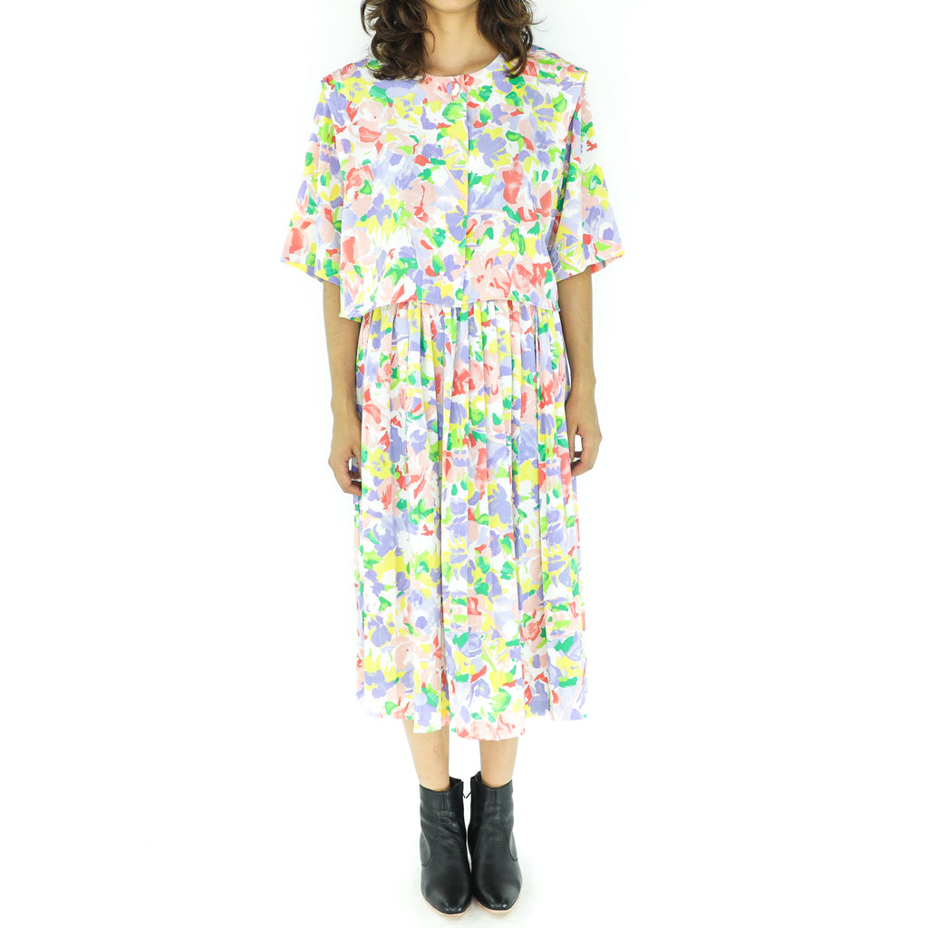 Colorful Flowers Secretary Midi Dress