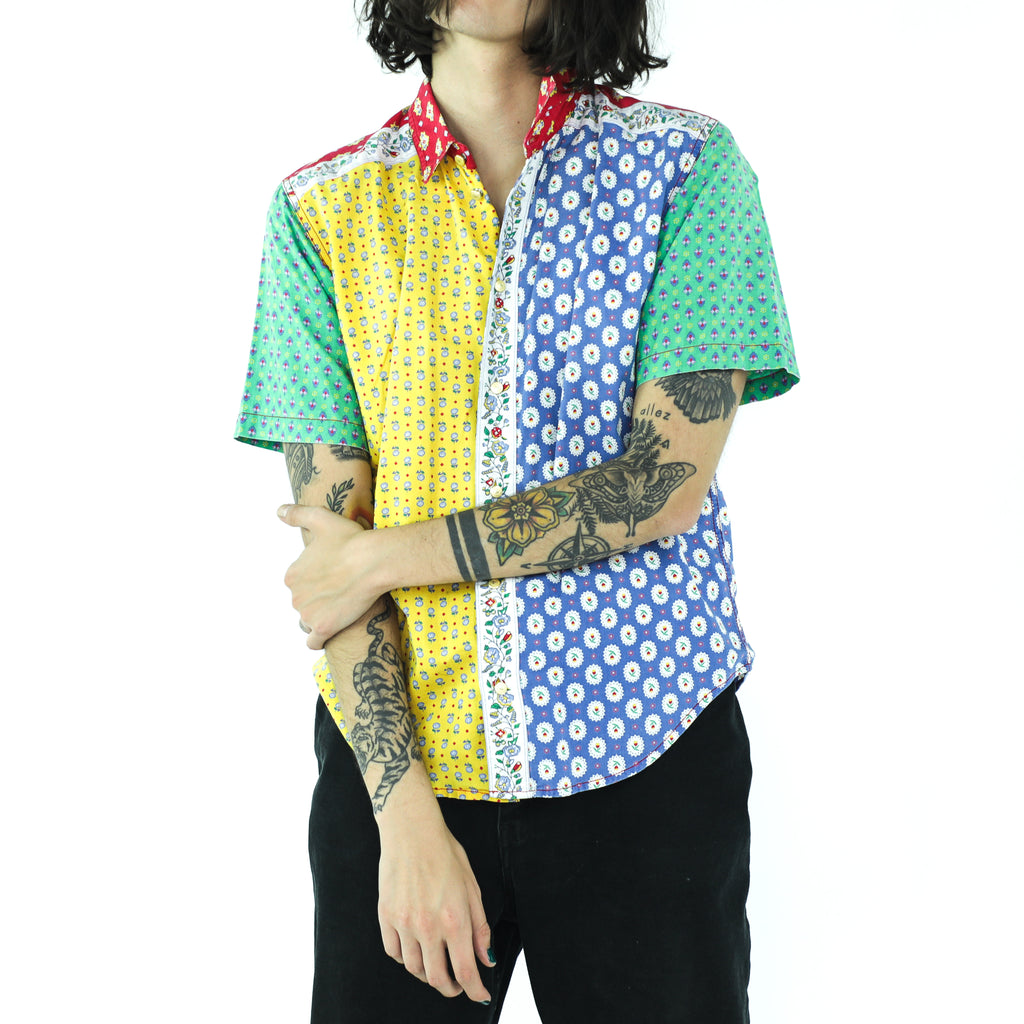 Primary Colors Full of Flowers Cotton Shirt