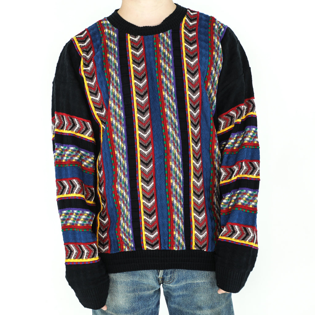 Black & Multicolor Acrylic 90's Sweater