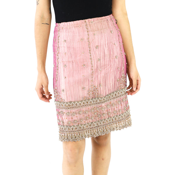 Baby Pink & Gold Indian Pencil Skirt