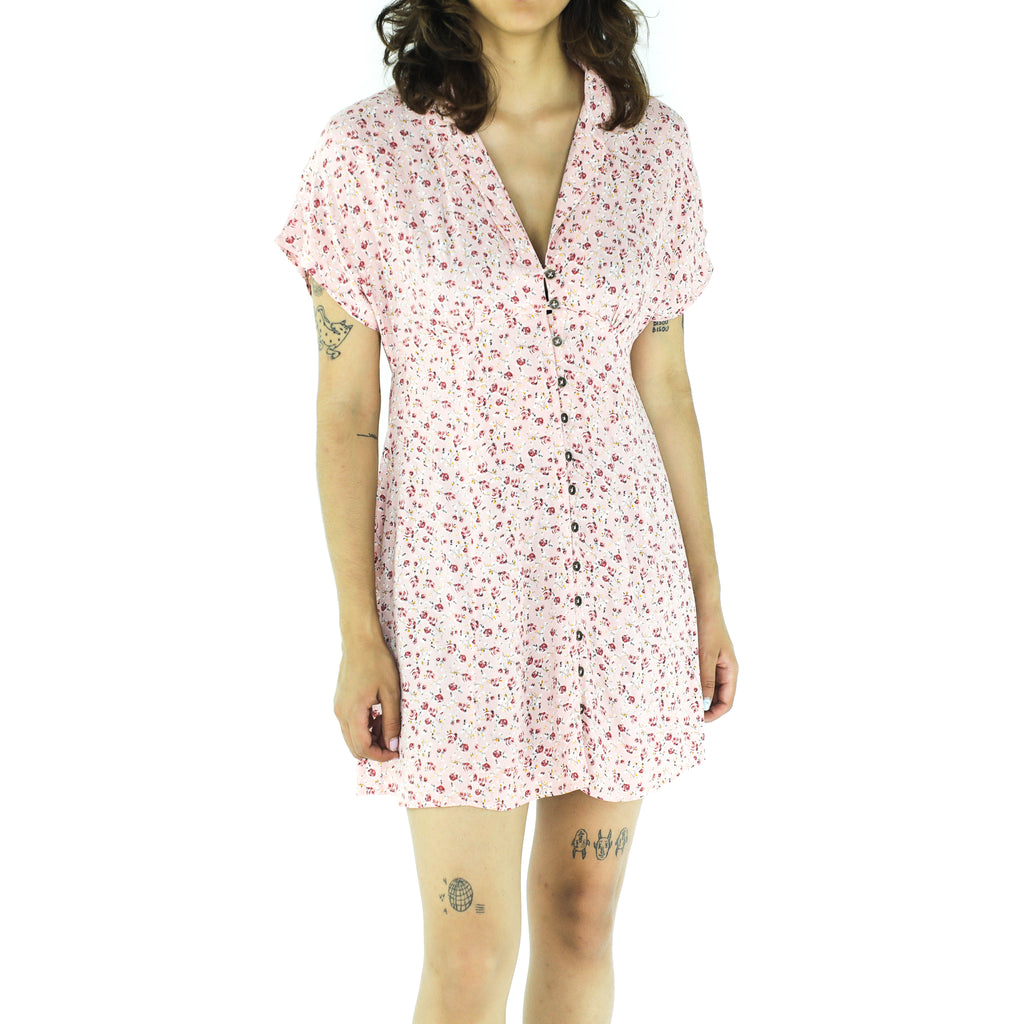 Pink Rayon Ditsy Print Dress