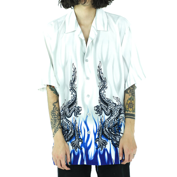 Chinese Dragons Blue & White Oversized Shirt