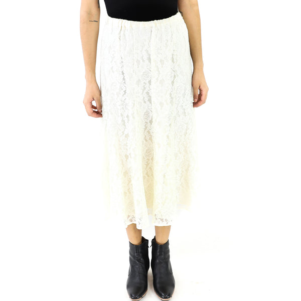 Ivory Lace Straight Skirt