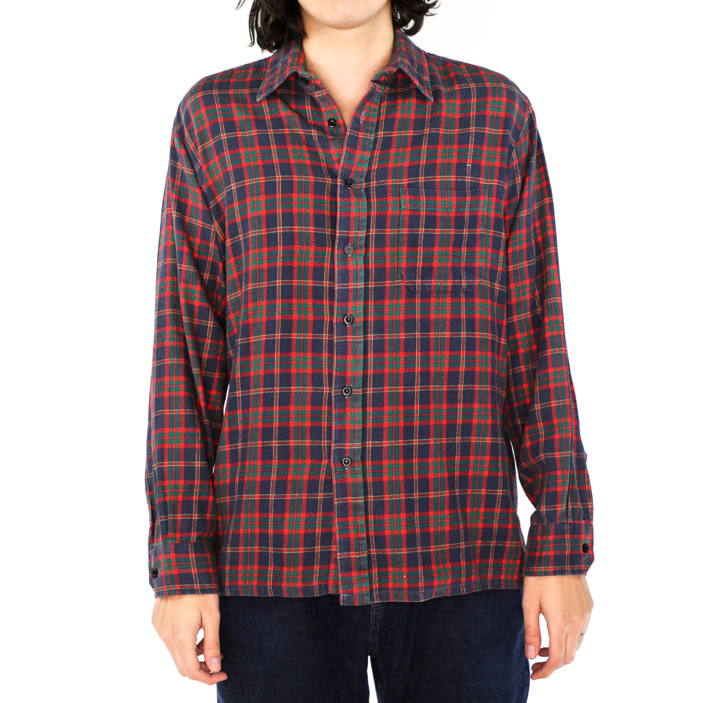 Space Blue, Scarlet & Jade Plaid Cotton Flannel