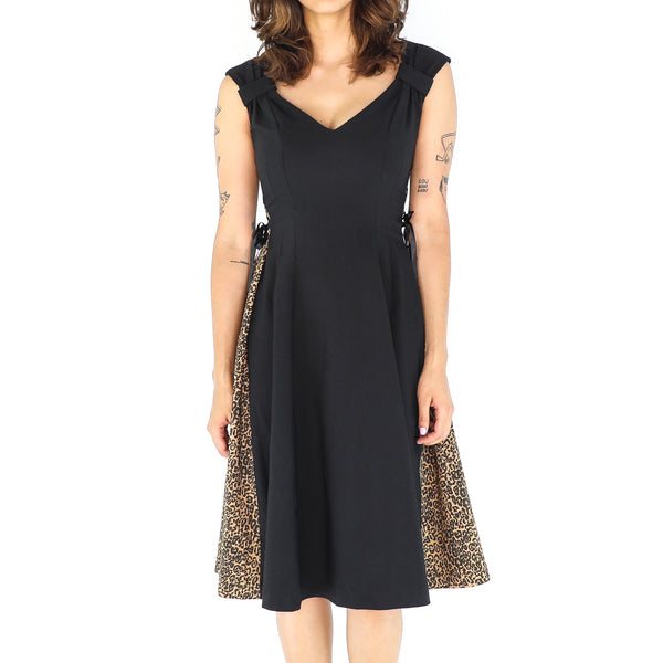 Animal Print & Black 60's Dress