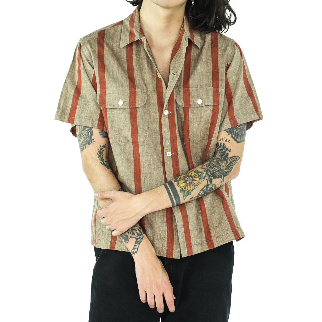 Burnt Orange & Tortilla Brown Striped Shirt