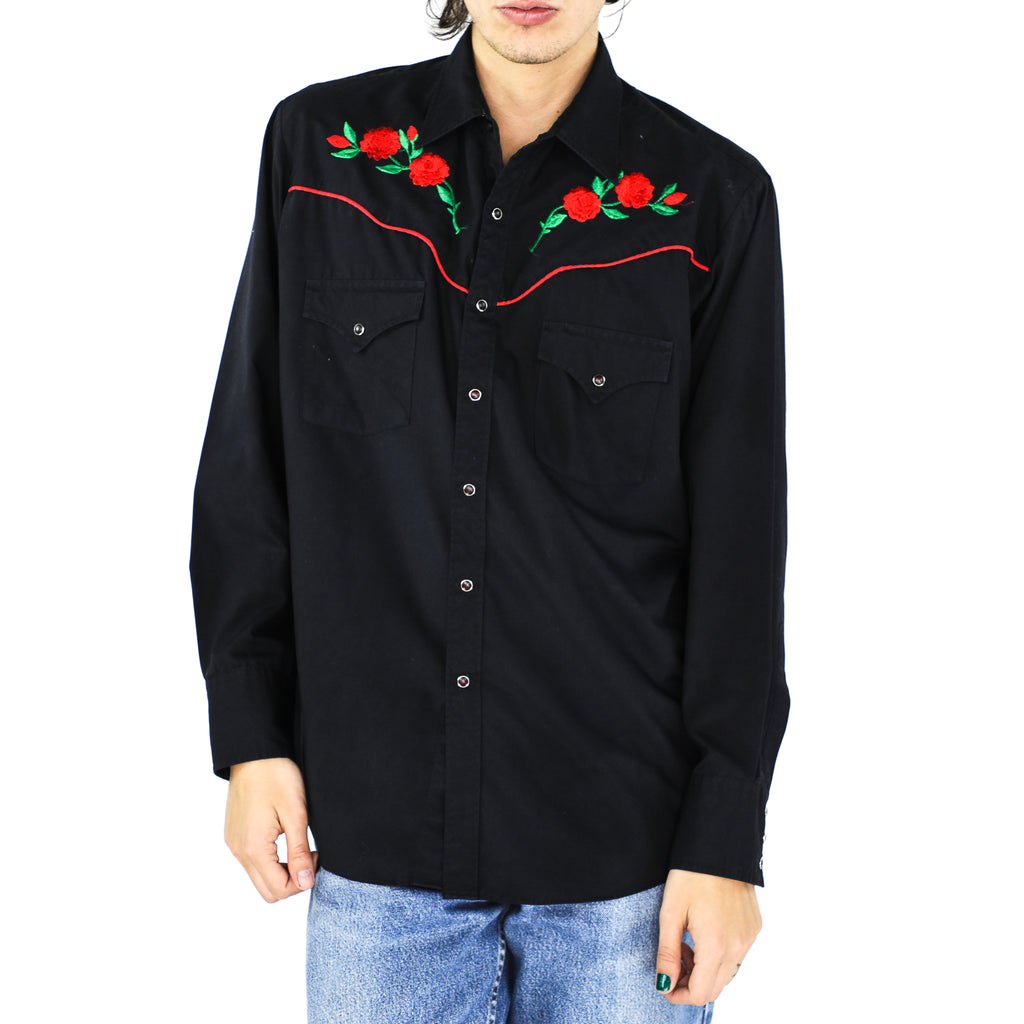 Scarlet Roses Black Embroidered Western Shirt