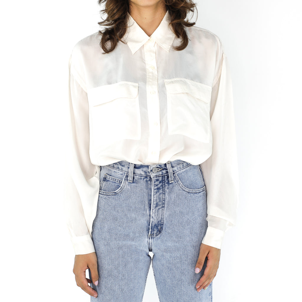 White Silk 90's Long Sleeve  Blouse