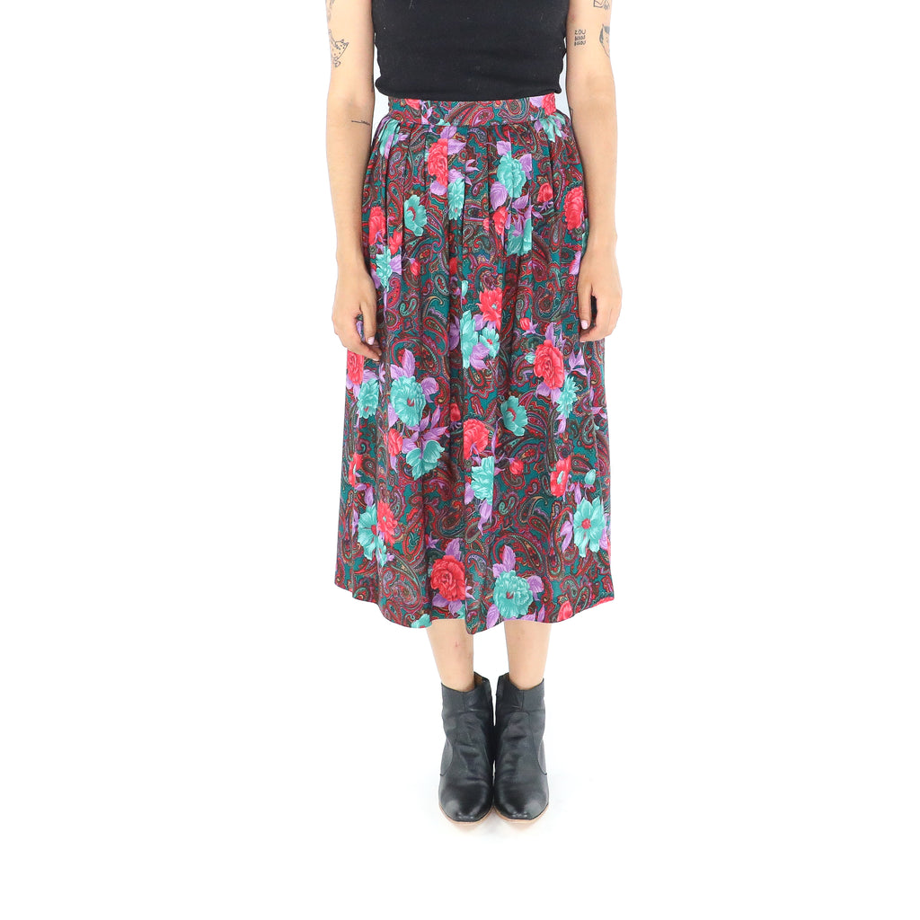 Colorful Rayon Paisley Boho Midi Skirt