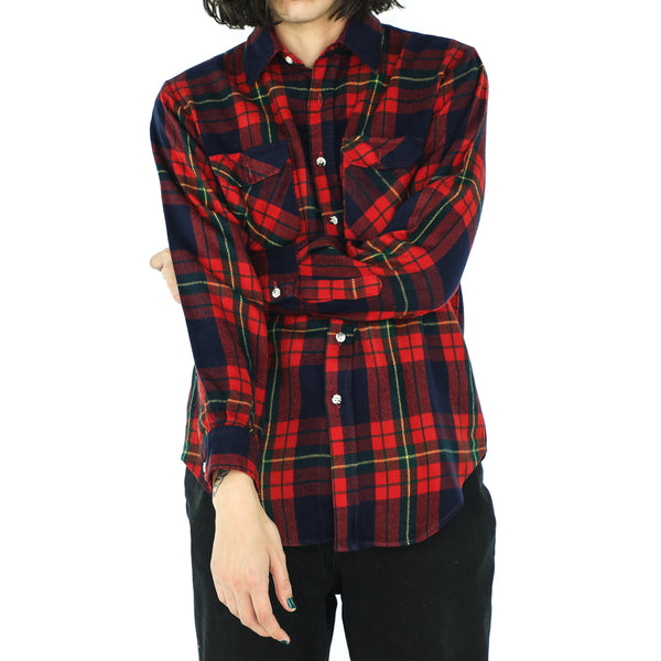 Deep Blue, Sacramento Green & Scarlet Red Plaid Flannel Shirt