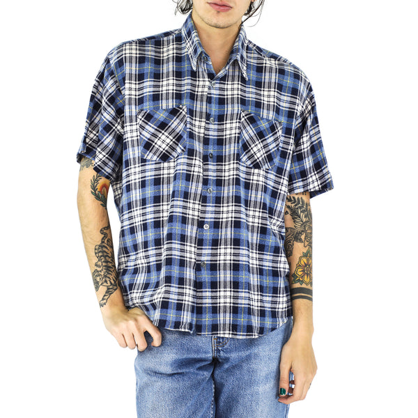 Cornflower & Denim Blue Plaid Cotton Shirt