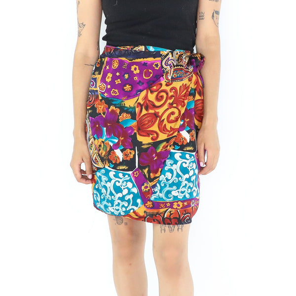 Colorful Silk 70's Wrap Mini Skirt