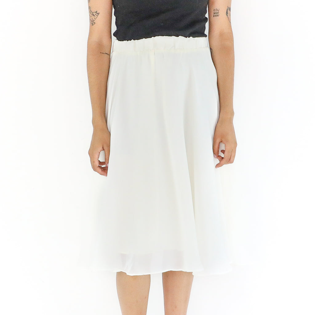 White 60's Pleated Midi Skirt