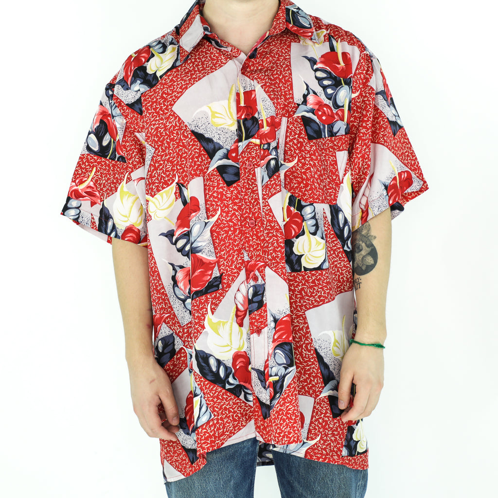 Red Floral Silk 80's Shirt