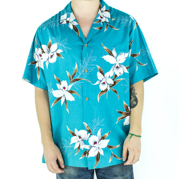 Turquoise Cotton Floral Shirt