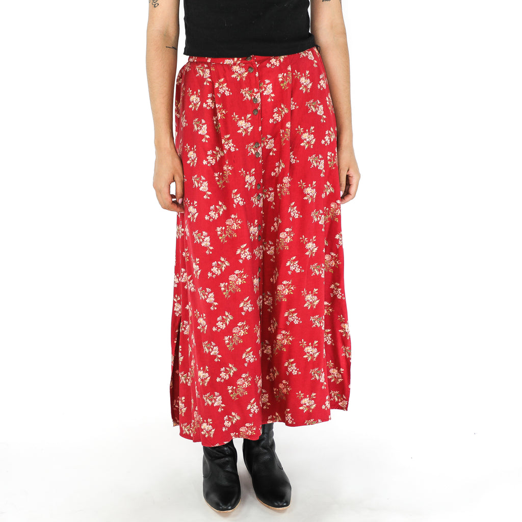 Red Rayon Ditsy Midi Skirt