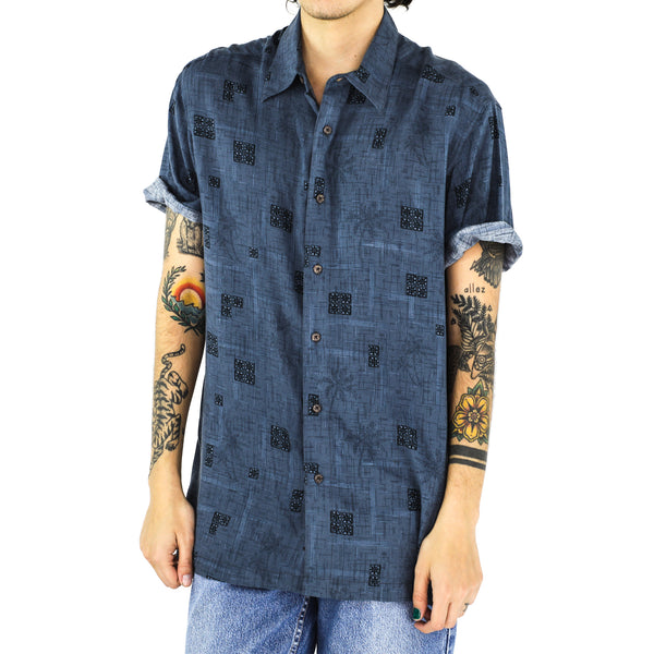 Prussian Blue Short Sleeve Rayon Shirt