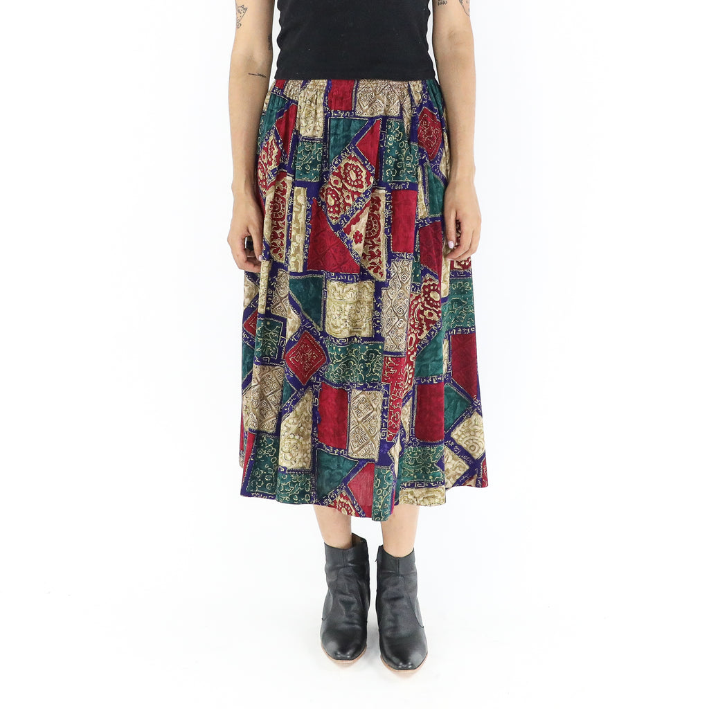 Dark Colors Rayon 70's Midi Skirt