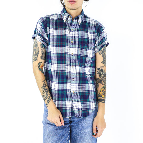 White, Pine Green & Space Blue Plaid Shirt