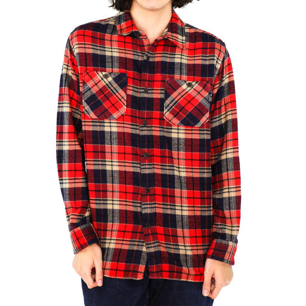 Mellow Yellow, Space Blue & Scarlet Red Plaid Cotton Flannel