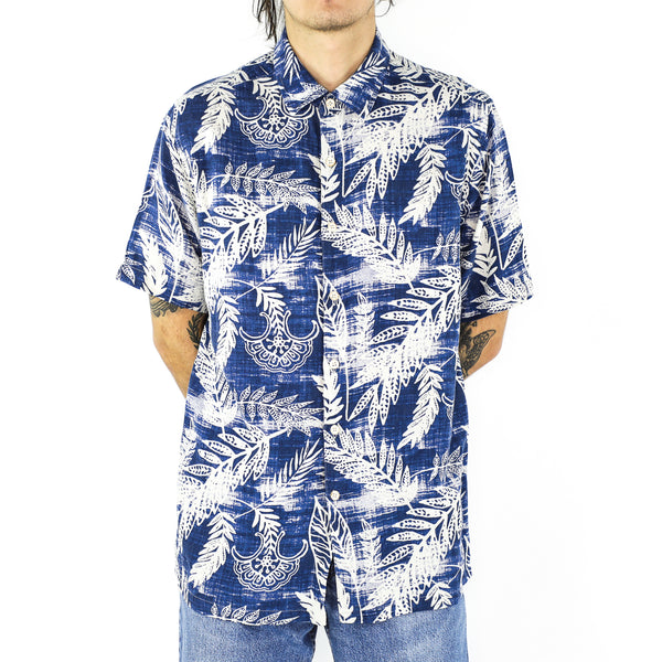 Porcelain Prints In Sapphire Blue Rayon Shirt