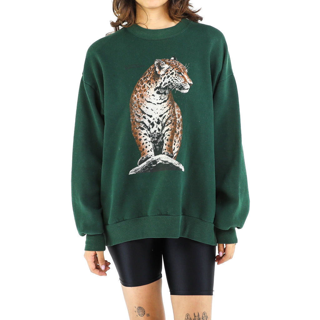 Green Leopard Cotton Sweatshirt