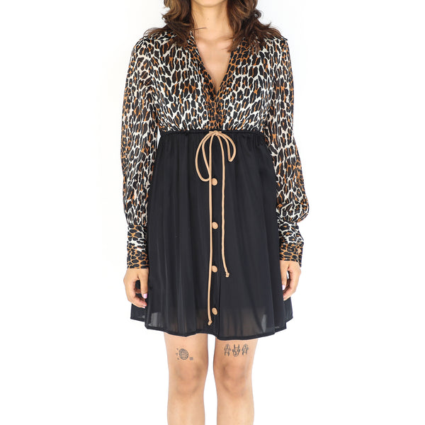 Black & Leopard Empire Line Dress