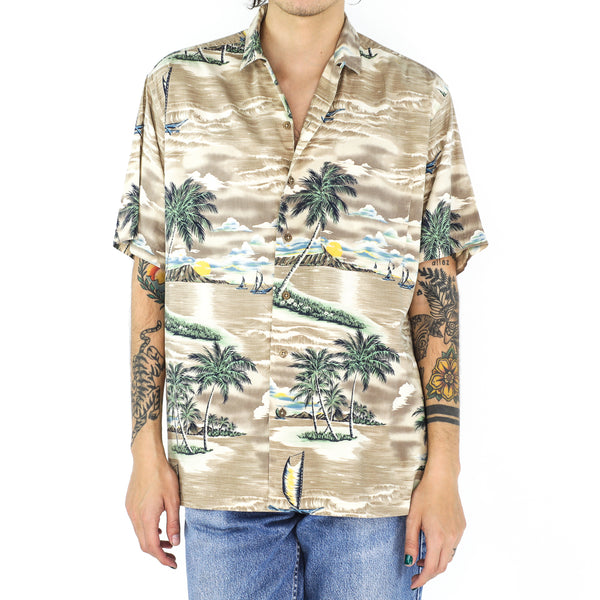 Ecru Yellow Beach Rayon Hawaiian Shirt