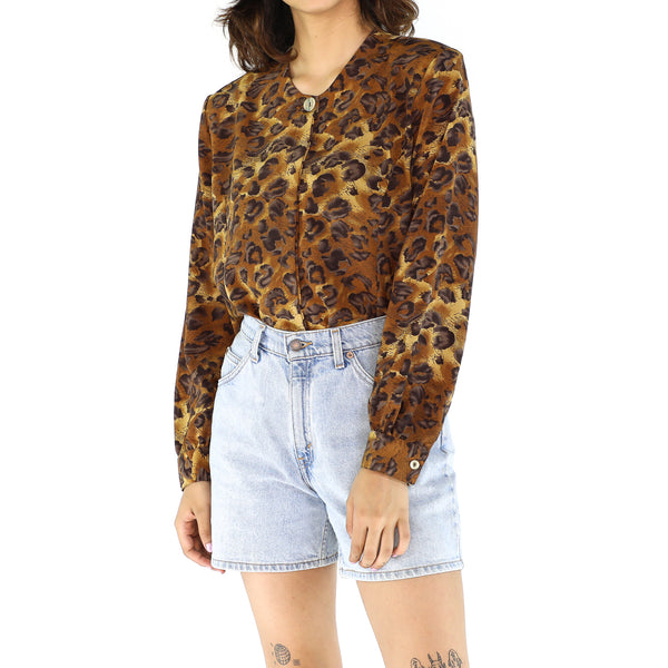 Vintage Animal Print Long Sleeve Blouse