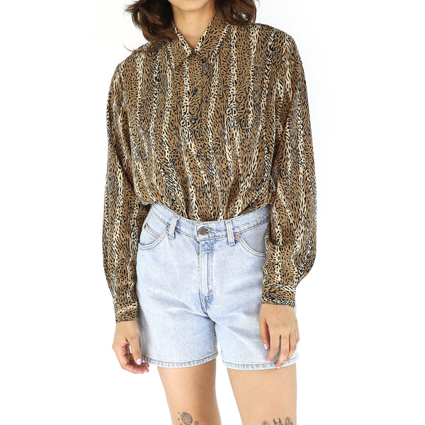 Black & Ivory Animal Print Long Sleeve Blouse
