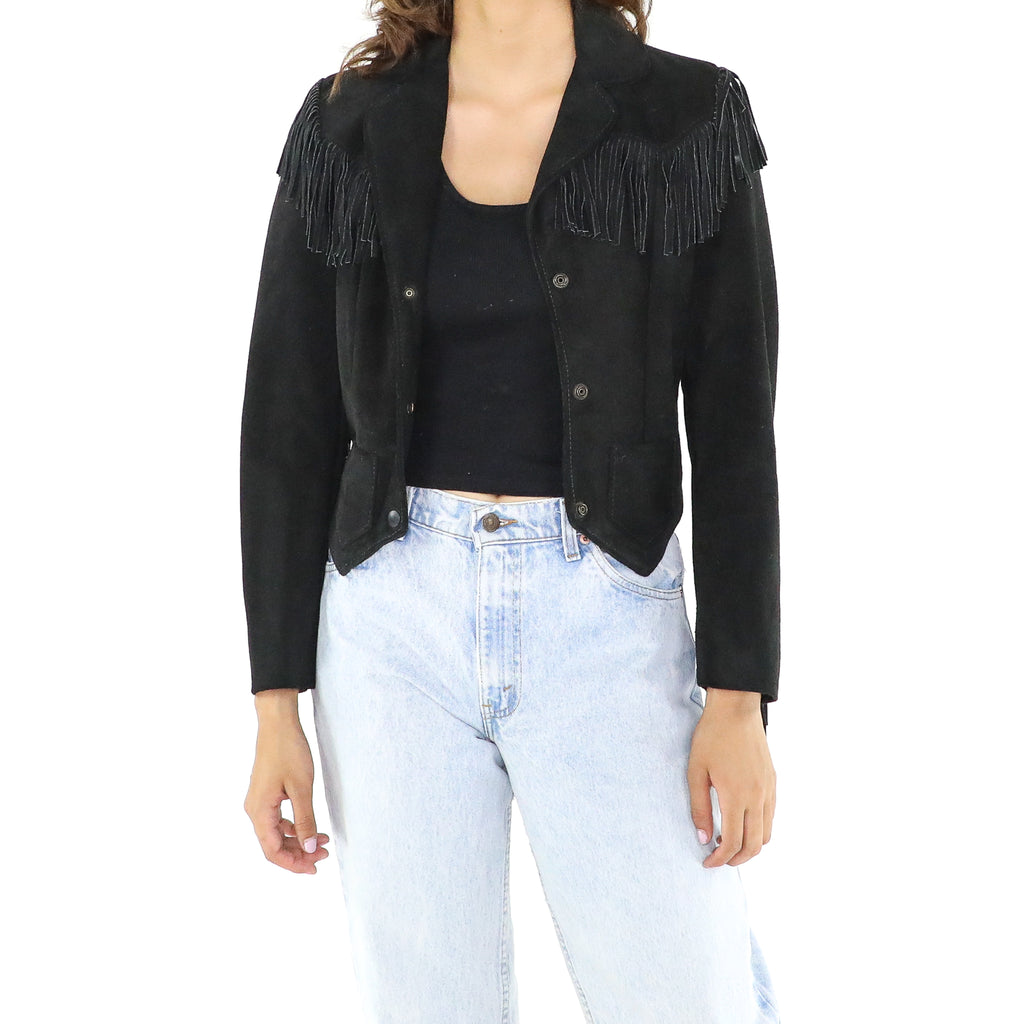Black Faux Fur Fringe Jacket