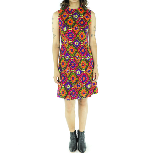 Multicolor Bohemian 60's Mini Dress