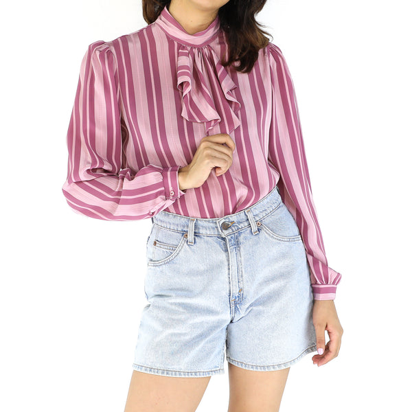 Pink 80's Stripes Pattern Blouse