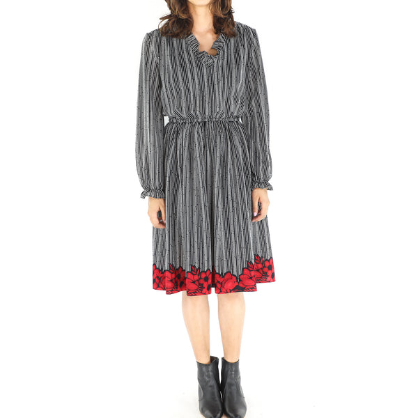 Black & White Stripes & Crimson Flowers Long Sleeve Dress
