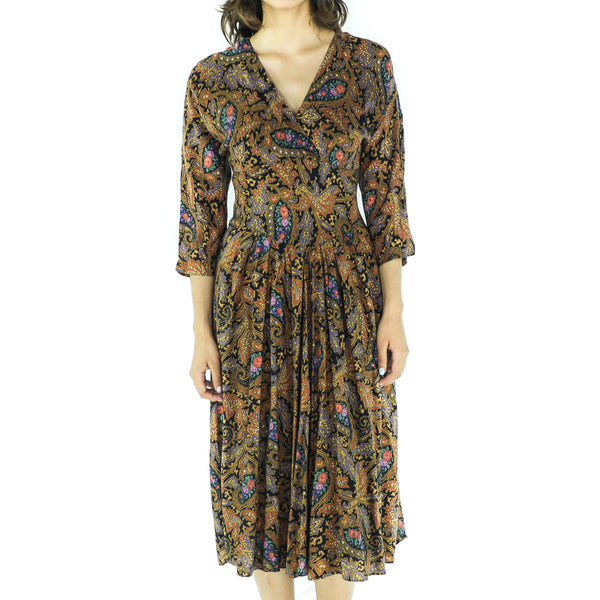 Copper Rayon Paisley 80's Boho Dress