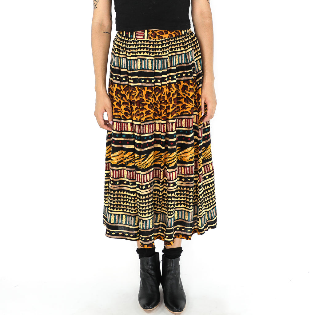 Multi Patterne Rayon 70's Midi Skirt
