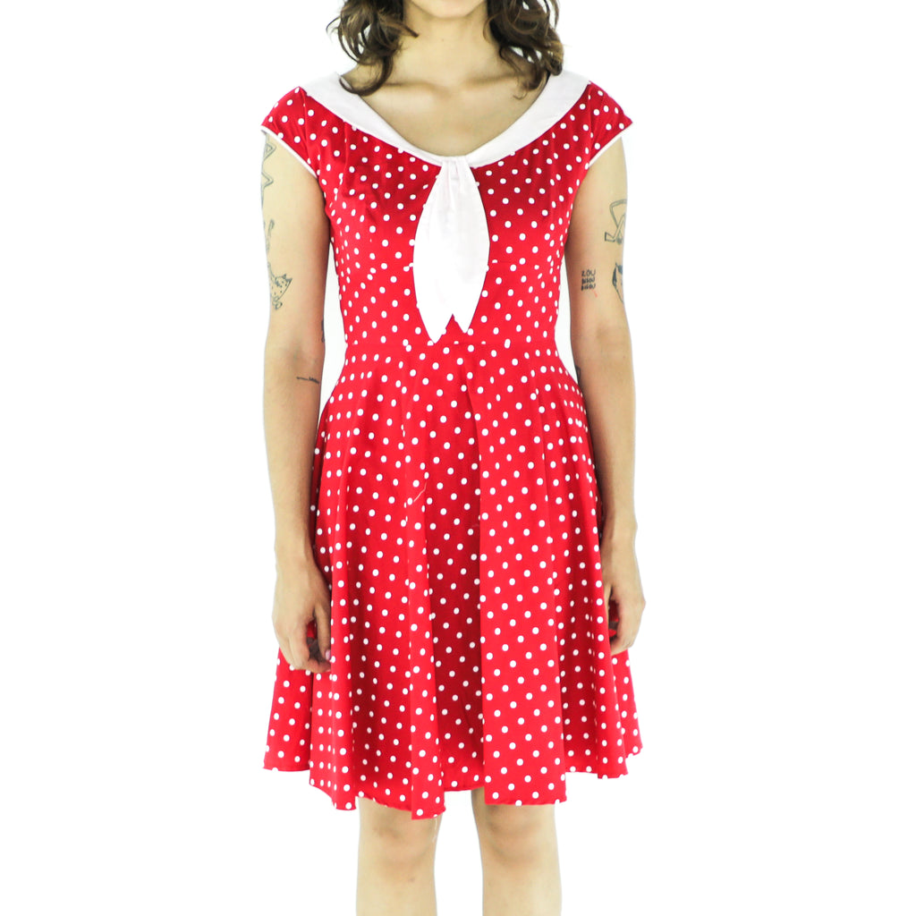 Red Cotton Polka Dots Pin Up Dress