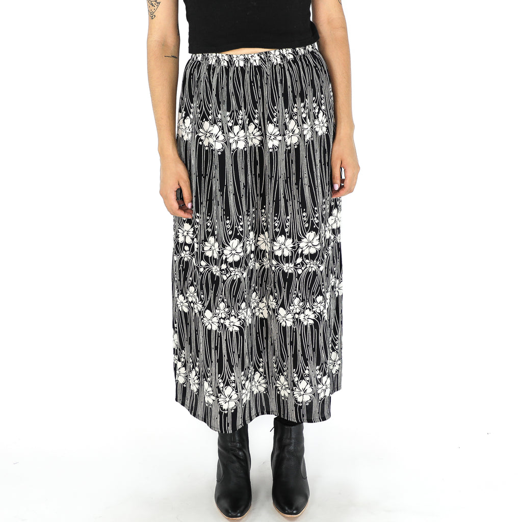 Black & White Rayon 90's Midi Skirt
